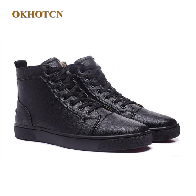 297174858968 Fashion Unisex Black Casual Shoes Mens Litchi Pattern High Top Flats  Platform Ankle Boots Men Designers Shoes Plus Size 35-46