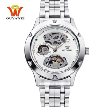 New OUYAWEI Man Watches 2017 Brand Luxury Mechanical Self-wind Waterproof Silver Automatic Watch Mens Stainless Steel Clock Hand цена