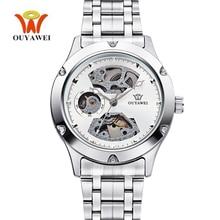 New OUYAWEI Man Watches 2017 Brand Luxury Mechanical Self-wind Waterproof Silver Automatic Watch Mens Stainless Steel Clock Hand цена и фото