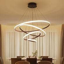 Brown/white Modern led Chandelier For living room Dining ledlamp rings suspension luminaire modern chandelier Lighting