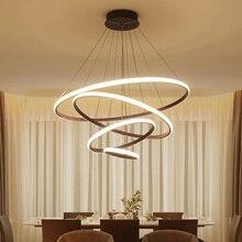 Kahverengi/beyaz Modern led avize oturma odası yemek odası için led lamba yüzükler süspansiyon armatür modern avize aydınlatma
