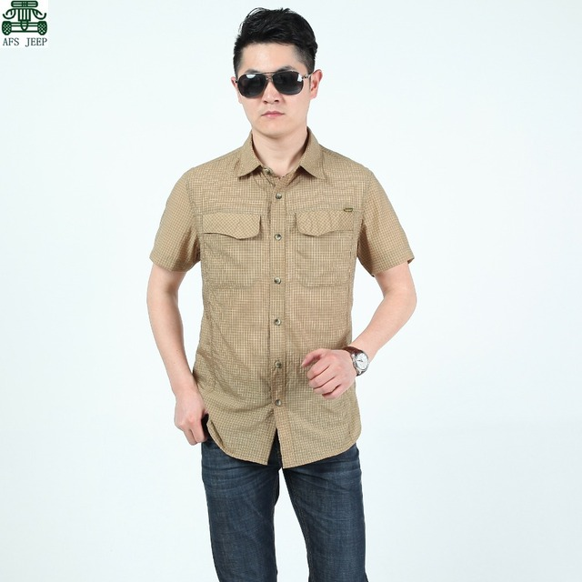 AFS JEEP White/Khaki/Green Men's Summer New Style 100% Cotton Male Small Plaid Short Sleeve Plus Size Cardigan Shirts