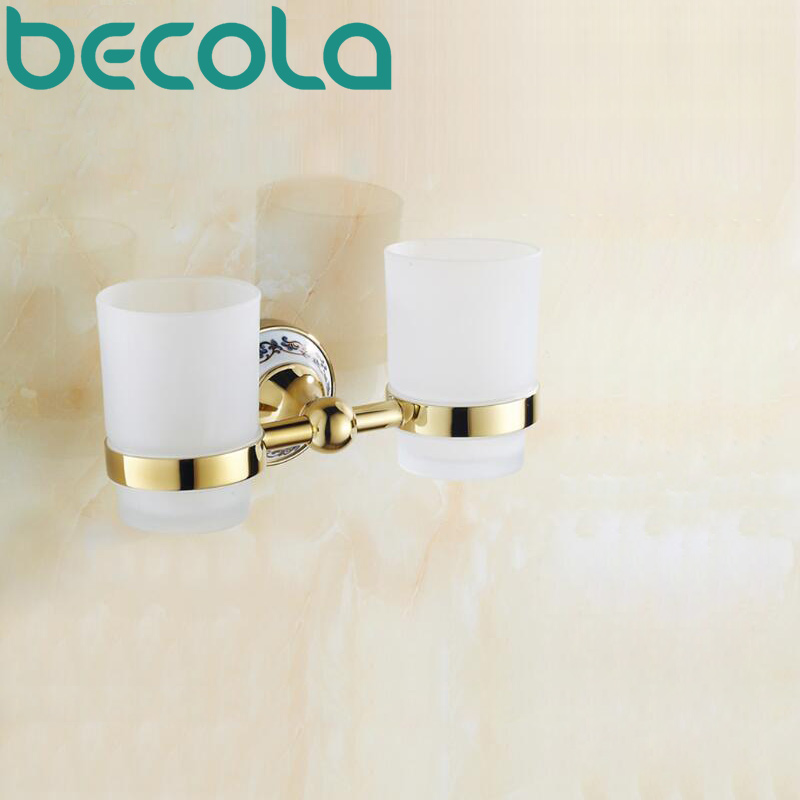 ФОТО Ceramic+Glass+Brass Bathroom Accessories Gold Plated Double Cup Holders Toothbrush Cup Holder BR-5503