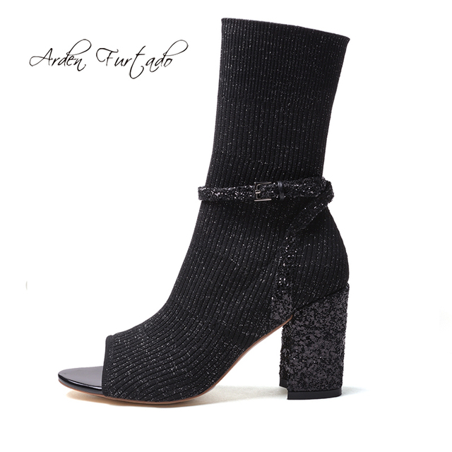 84c38cb6d19c Arden Furtado 2018 summer high heels 8cm silver sexy peep toe fashion shoes  woman sandals ankle bling bling Stretch socks boots