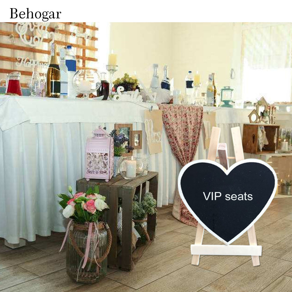 Behogar 12PCS Mini Heart Shaped Chalkboards Message Board Sign w/White Wooden Easel for Engagement Wedding Party Home Decoration