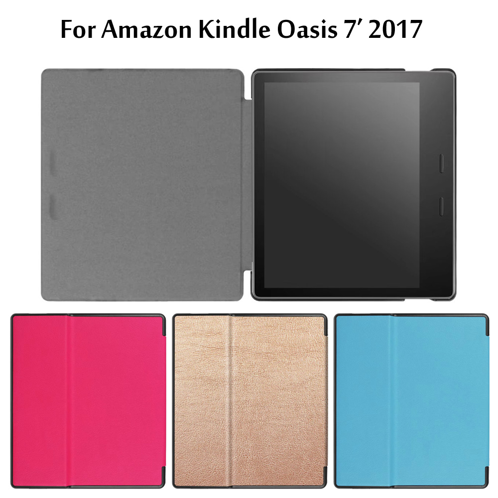 For Amazon Kindle Oasis 7 2017 Ereader Tablet Ultra Slim Custer PU Leather Magnetic Smart Sleep Cover Protective Case + Stylus for amazon 2017 new kindle fire hd 8 armor shockproof hybrid heavy duty protective stand cover case for kindle fire hd8 2017