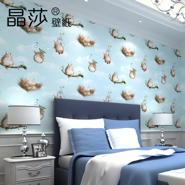 Wallpaper For Living Room 2017 2017 new arrive korean style cartoon totoro non woven wallpaper