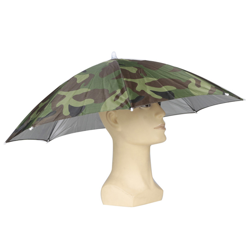 Camouflage Foldable Headwear Sun Umbrella Fishing Hiking Beach Camping Cap Head Hats Outdoor Sport Hat In Umbrellas From Home Garden