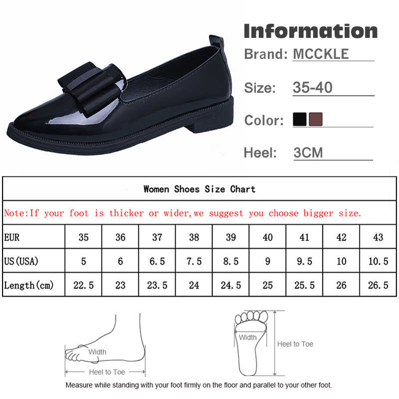 d9d68d84 ... MCCKLE Spring Flats Women Shoes Bowtie Loafers Patent Leather Elegant Low  Heels Slip On Footwear Female