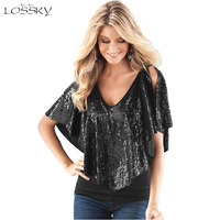 2017 Summer Fashion Slim Sequined Patchwork Women Tops Female T Shirts Sexy V Neck Sleeveless T
