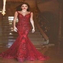 Benutzerdefinierte Volle Neue Rote-wein Sexy V-ausschnitt Modische Andybridal Meerjungfrau Abendkleider Lange Abendkleid Formales Kleid Kleid