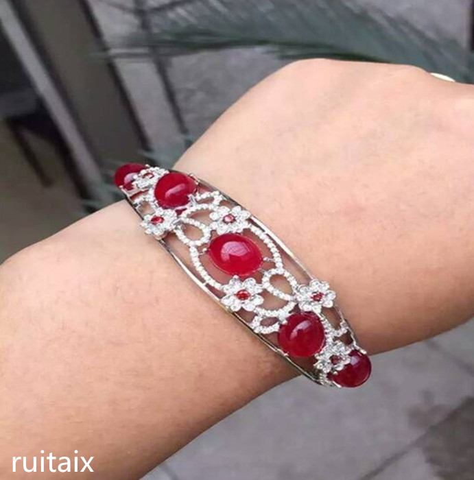 KJJEAXCMY fine jewelry S925 Pure silver inlay natural ruby medulla female style bracelet plant meihua ornaments цена