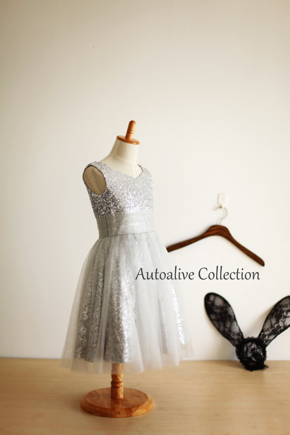 Sequined Flower Girls Dresses For Wedding Gown Long Mother Daughter Dresses Children Ankle-Length Holy Communion Dresses