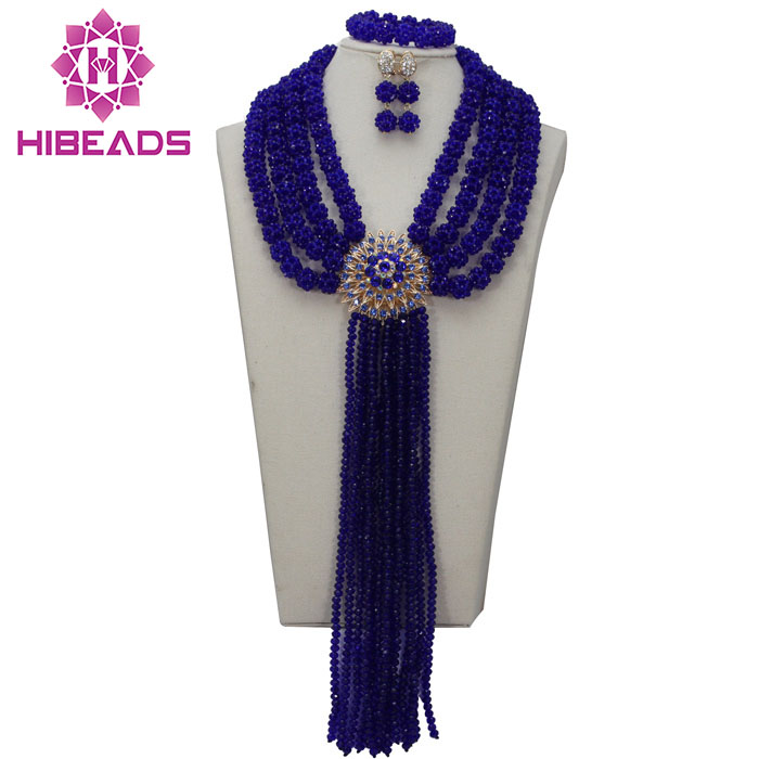 2017 Big Romantic Marvelous Nigerian Wedding African Beads Jewelry Set Royal Blue Crystal Beads Jewelry Set Free Shipping ABL575