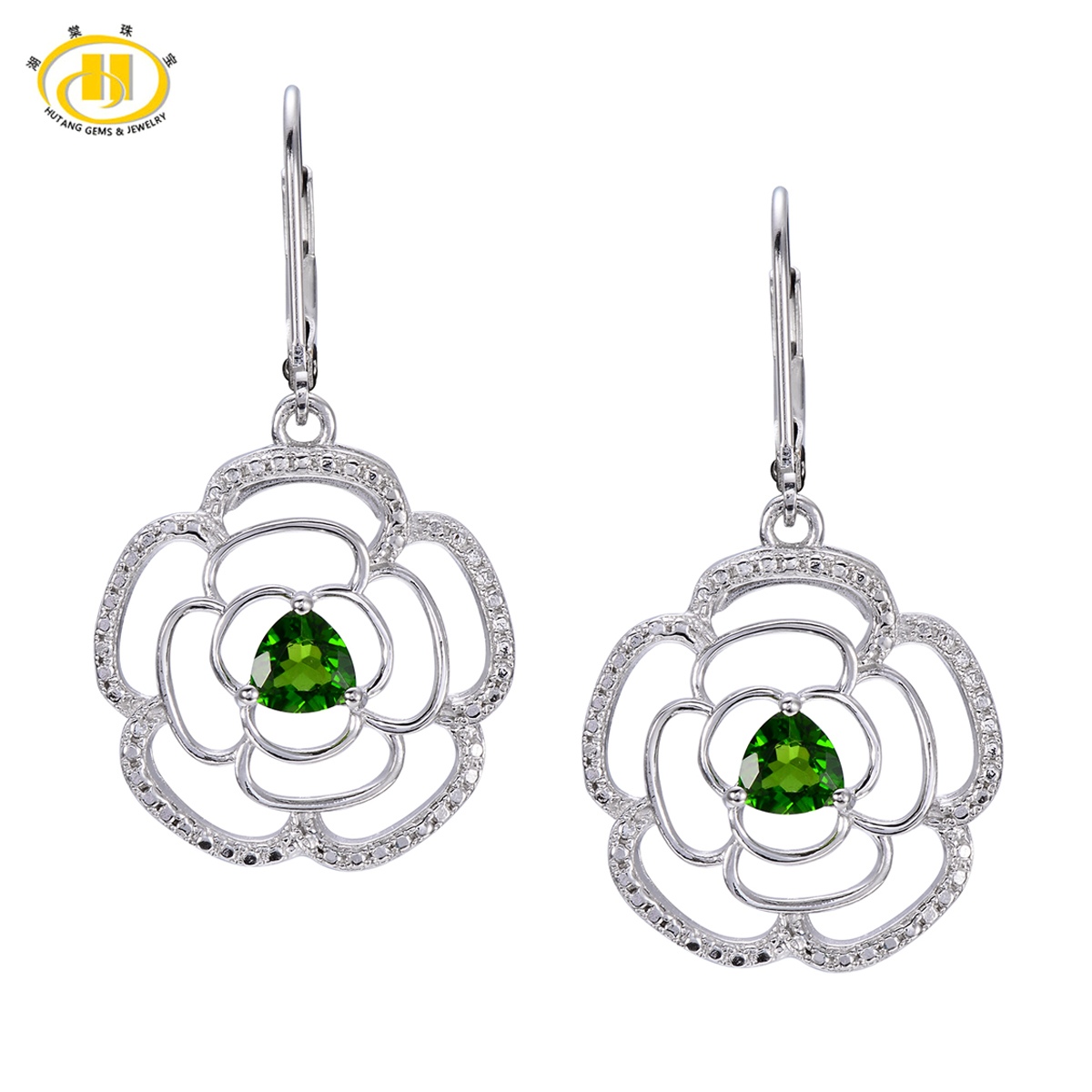 Hutang 1.12ct Natural Chrome Diopside Flower Drop Earrings Real Solid 925 Sterling Silver Gemstone Fine Jewelry Women