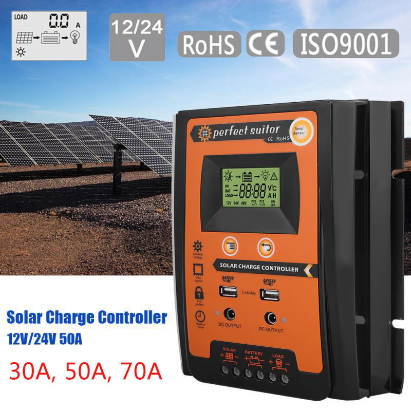 Areyourshop 30A 50A 70A 12V 24V MPPT Solar Panel Charger Controller Battery Regulator