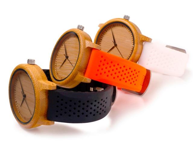 Zegarek unisex drewniany BOBOBIRD sylikonowa opaska 3 kolory