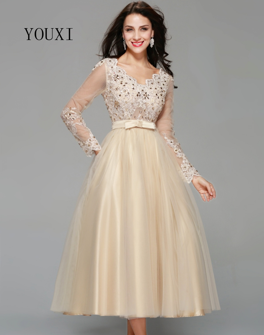 Elegant Champagne Tulle Appliqued Lace Crystal Tea-Length Long Sleeve Evening Dress 2019