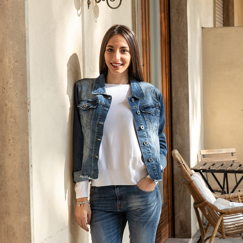 Bouton Fabriqué Mode En Cowboy Longues Hauts Jeans 6800 Italie Manches Colette Faire Vieux Revers ZvYZxwd