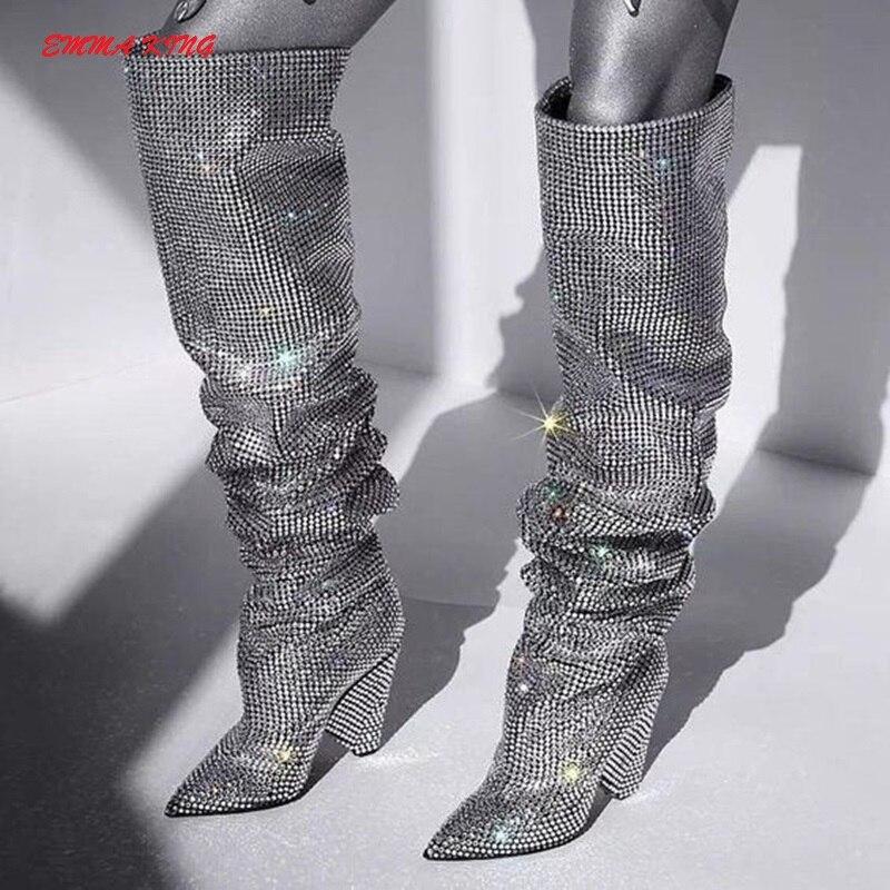 Femmes Haute Femme Boot As Talon Le Strass Bottes Genou Cloutés Chaussures Scintillement Bling Bout Pointu Étrange Sur Longues De Cuissardes Picture Luxe THqtw6
