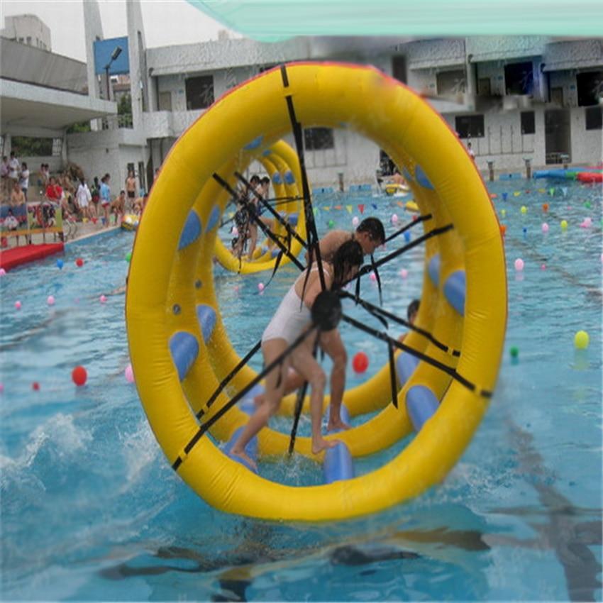 1 UNID 2.5 M doble fila la rueda de agua tambor de agua inflable cinta de correr personalizada inflable equipo de juguete de agua