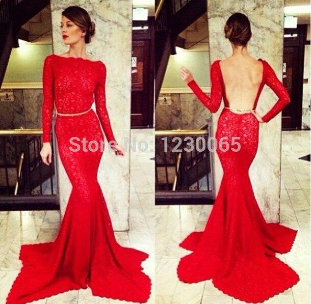 Sexy robe de bal rouge vestido de festa dos nu manches longues slim dentelle sirène soirée robe de bal 2016 livraison gratuite