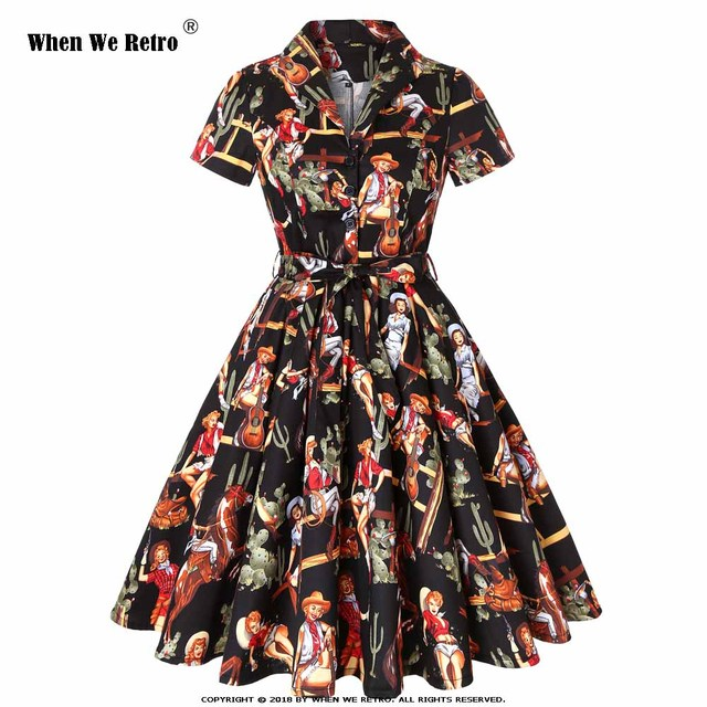 When We Retro 50s Rockabilly Western Cowgirl Horse Print Dress Swing Dresses Women Ladies Autumn Plus Size Vestidos SD0002G