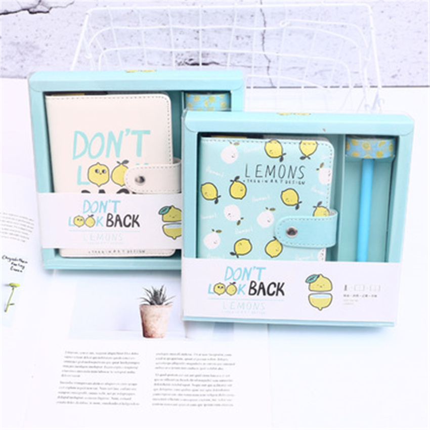 Lemon PU hand book gift set magnetic material escola Schedule Book Diary Planner Notebook School Office Supplies Stationery jugal constellations notebook pu cover schedule book diary weekly planner notebook school office supplies kawaii stationery