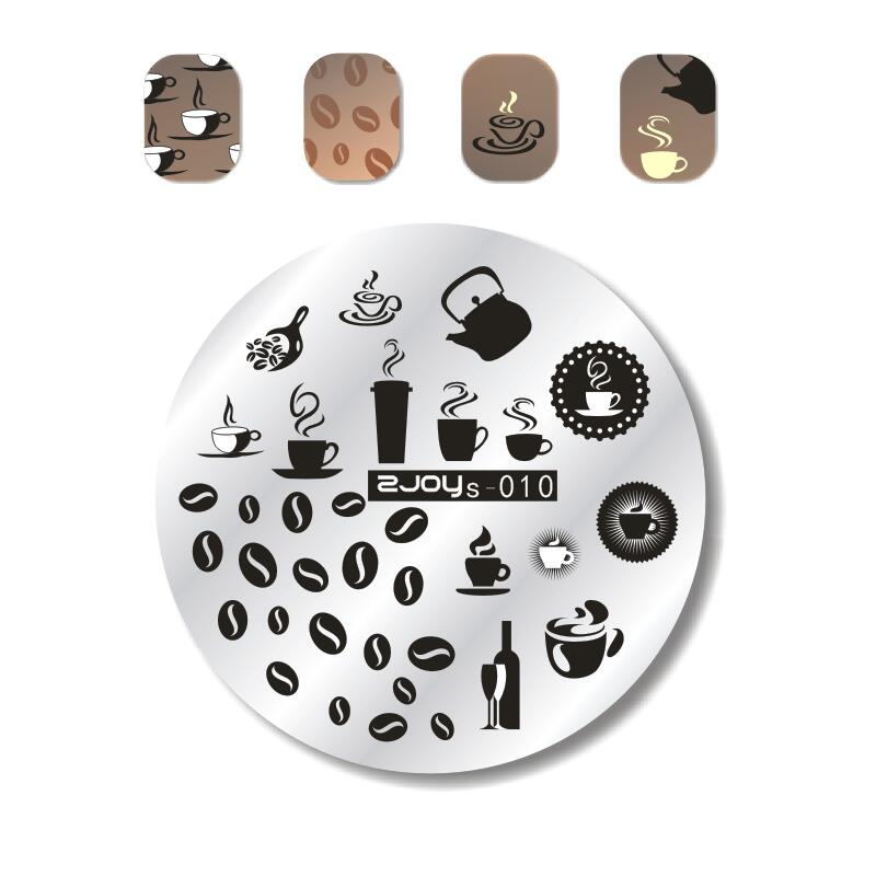 1 шт. дизайн ногтей штамп шаблон кофейная чашка/чайник/бутылка для вина дизайн изображения ногтей штамповки пластины инструменты для маникю...