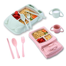 5 Pcs/Set Cartoon Train Car Airplane Baby Tableware Set Baby Trainning Dishes Plate Dish With Spoon Fork Baby Bowl Plate