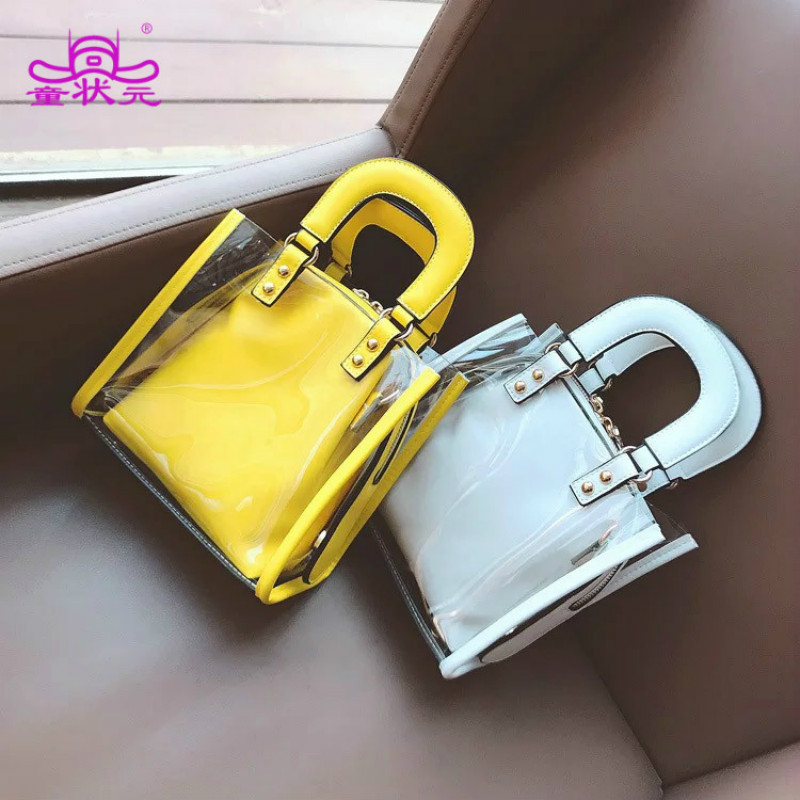 High Quality PVC Bag Candy Transparent Bag Fashion Popular Clear Color Casual Shopping Handbag Summer Clear Beach Women Bags