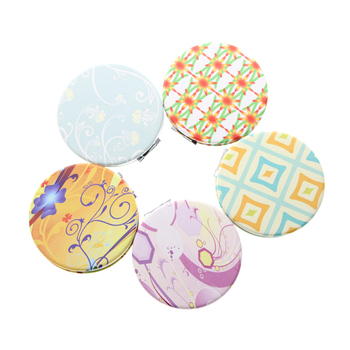 All 6cm Round 16 Different Patterns Set Double Sided Folding Porta Maquiagem Vanity Cosmetic Pocket Hand Compact Makeup Mirror