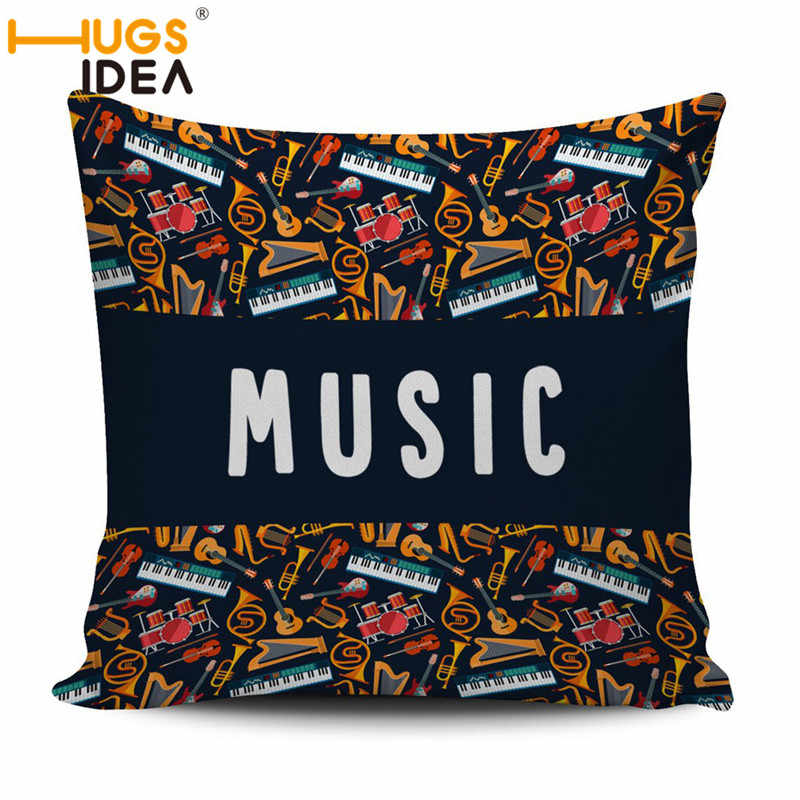 HUGSIDEA 3D Flores Da Nota da Música Travesseiro Capa almofadas Home Decor Almofadas Personalizadas 45*45 cm Fronha Decorativo almoha