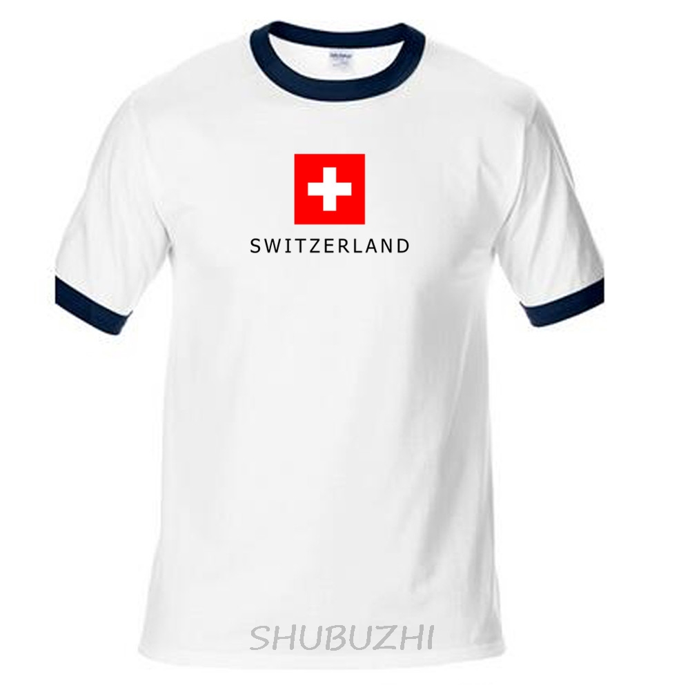 e17109c9b869 Swiss Confederation Confoederatio Helvetica Switzerland t shirt man t-shirts  nation team cotton tees fans CHE CH ringer Tee