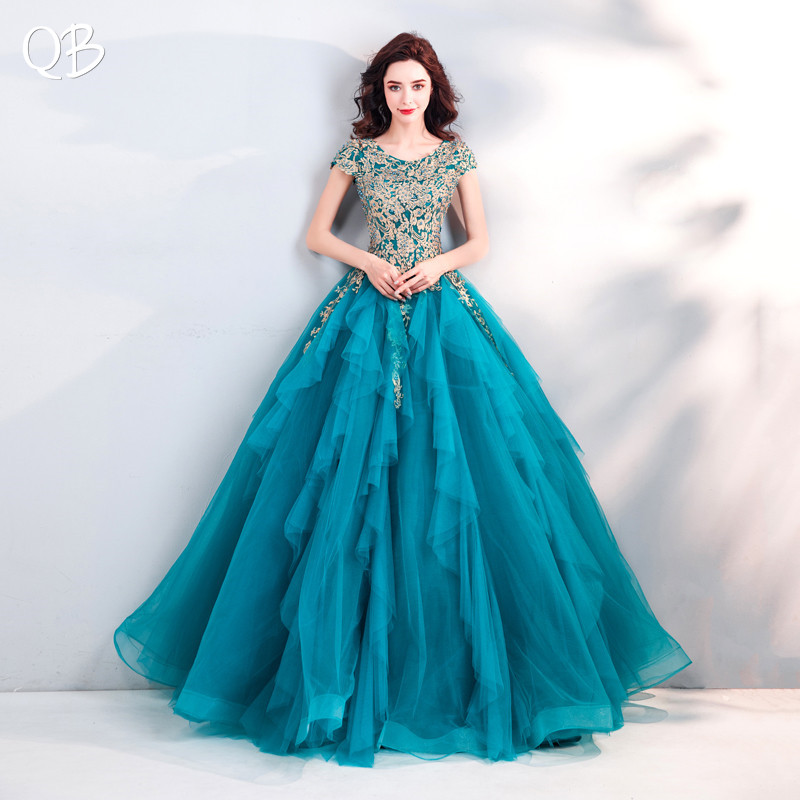 Blue Ball Gown Fluffy Tulle Lace Beading Flowers Luxury Elegant   Evening     Dresses   Bride Banquet Party Prom   Dress   XK18