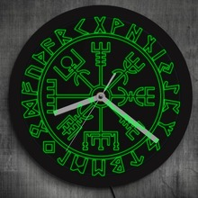 Wikingów Symbol runy 3D duży LED Neon zegar ścienny Vegvisir kompas Viking skandynawski podświetlenie lampka nocna zegarek blask w ciemności tanie tanio The Geeky Days Acrylic Living Room Pojedyncze twarzy Oddziela Krótkie QUARTZ HK-014 Abstract Igła LUMINOVA Zegary ścienne