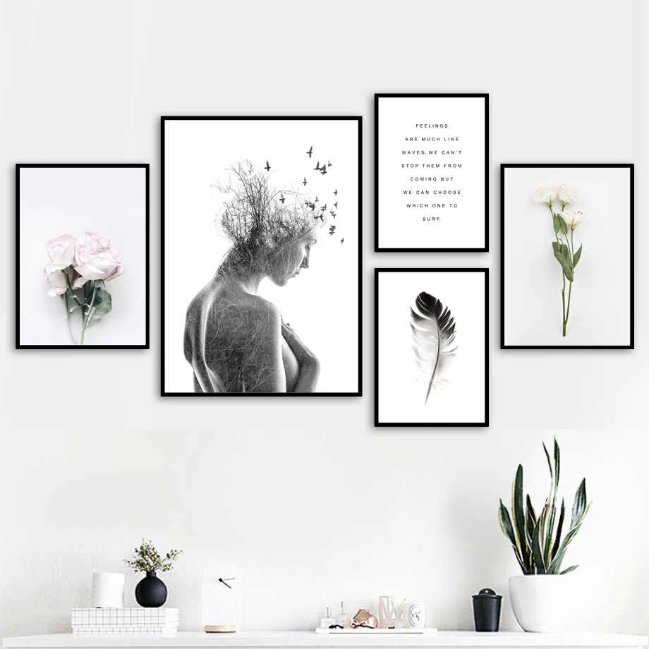 Girl bird Flower Feather Landscape Quotes Wall Art Canvas Painting Nordic Posters And Prints Wall Pictures For Living Room Decor