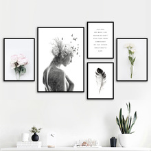 Girl bird Flower Feather Landscape Quotes Wall Art Canvas Painting Nordic Posters And Prints Wall Pictures For Living Room Decor girl bird feather quotes wall art canvas painting nordic posters and prints black white wall pictures for living room home decor