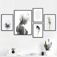 女の子鳥花の羽風景引用符壁アートキャンバス絵画北欧ポスターやプリント壁の写真リビングルームのインテリア