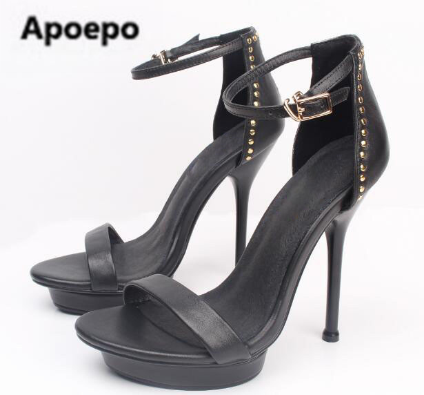 Newest Europe and America women sandals summer buckle platform shoes black sexy high heels sandals Female beige Small size 34 apoepo 2018 newest sandalen dames beige metal decor thin heels high heels sandals women summer sexy women s heel sandals shoes