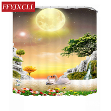 Modern Creative Swan Play in the Water Shower Curtain Polyester Waterproof Mildew Bathroom Custom Made