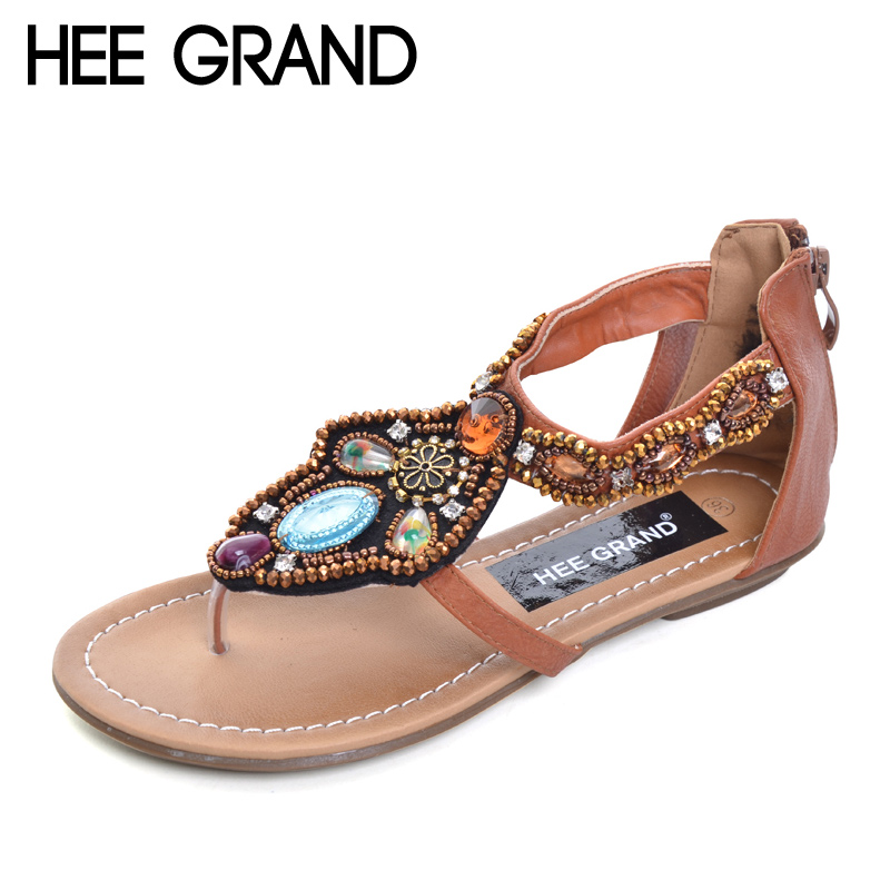 HEE GRAND Summer Gladiator Sandals 2017 Crystal Flip Flops Casual Slip On Flats Vintage T-Strap Platform Shoes Woman XWZ3461 hee grand lace up gladiator sandals 2017 summer platform flats shoes woman casual creepers fashion beach women shoes xwz4085