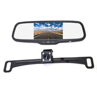 Vardsafe VS411C | License Plate Rear View Reversing Backup Camera + Clip on Mirror Monitor Kit for Car RV Truck SUV Van