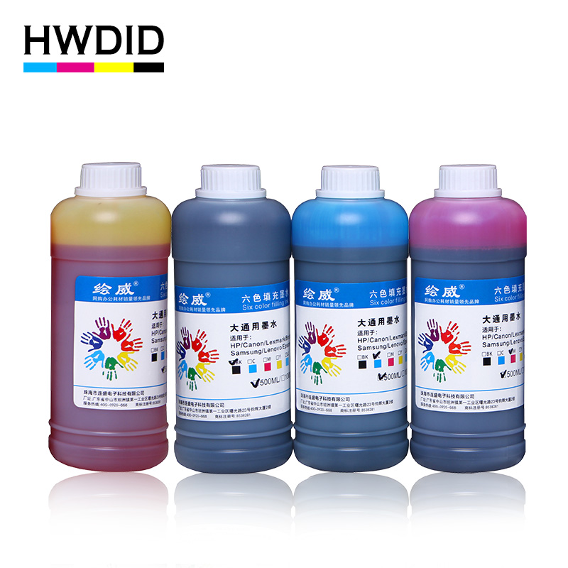 HWDID 500ml Black Universal Dye ink Refill kit for Ink cartridge CISS for HP for Canon for Epson for Brother Inkjet Printer original 1000ml bottle cleaning liquid for epson for canon for hp inkjet printer cleaning fluid use for cartridge
