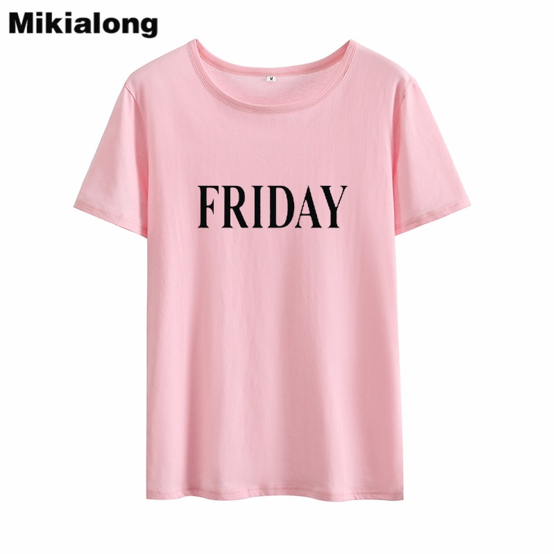 Mrs win FRIDAY Women T-shirt Casual Loose Korean Fashion Black White T-shirt Woman Cotton Harajuku Tee Shirt Femme Manche Courte