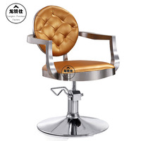 Gold euramerican style design. Hairdressing chair. Barber chair..