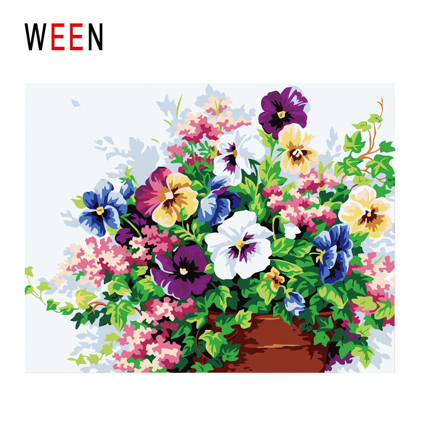 WEEN Blooming Flowers Diy Painting By Numbers Vase Oil On Canvas Cuadros Decoracion Acrylic Wall Art Home Decor Gift