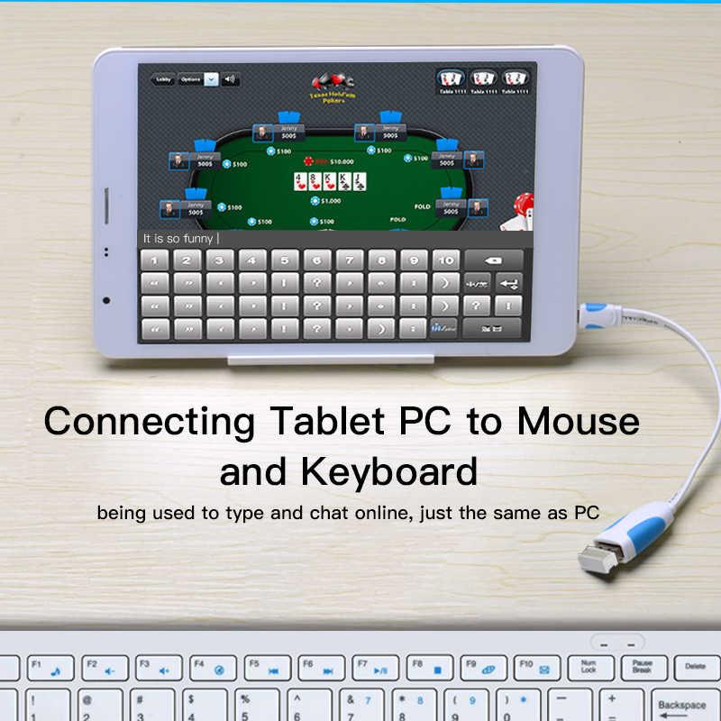 Convenio adaptador OTG Micro USB a USB 2,0 convertidor OTG Cable para Android Samsung Galaxy Xiaomi Tablet Pc Flash teclado del Mouse