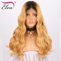 Elva Hair 13x6 Lace Front Human Hair Wigs 150% Density Brazilian Virgin Hair Ombre Lace Wigs With Baby Hair Pre Plucked Hairline