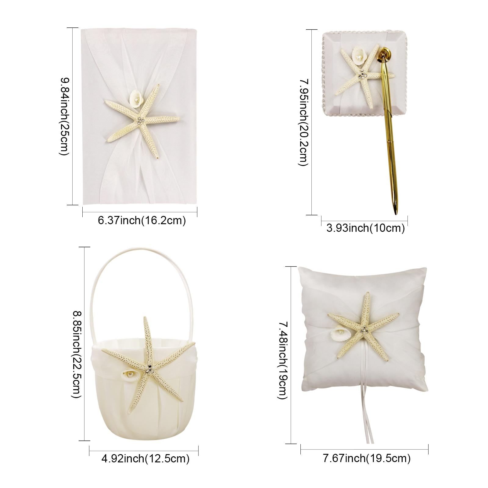 Nuptiale douche étoile de mer fleur panier blanc tache poire anneau oreiller de mariage fête décoration invité livre ensemble accessoires de mariée - 6